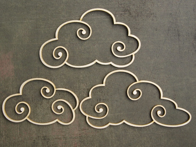 Chipboard - Clouds - 3 pieces
