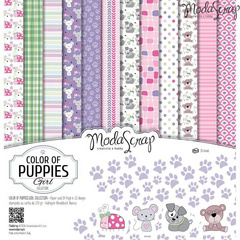 Scrapbooking Blok - Color of puppies girl 30,5 x 30,5 cm