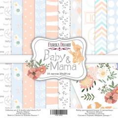 Scrapbooking paper pack - Baby & Mama 20 x 20 cm