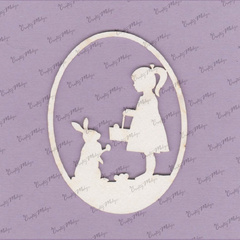 Chipboard - Easter Egg, bunny and girl
