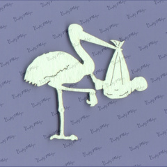 Chipboard - Stork And Baby