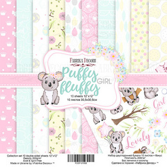 Scrapbooking Blok - Puffy Fluffy Girl 30,5 x 30,5 cm