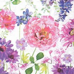Decoupage napkin - Watercolor Flowers - 25 cm Х 25 cm