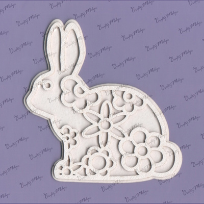 Chipboard - Bunny with flower lace - middle - 2 layers