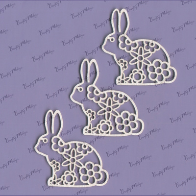 Chipboard - Bunny with flower lace - small - 3 pieces