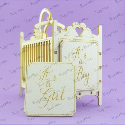 Chipboard - 3D Baby Bed (Boy and Girl)
