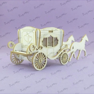 Chipboard - 3D Mini Wedding Carriage