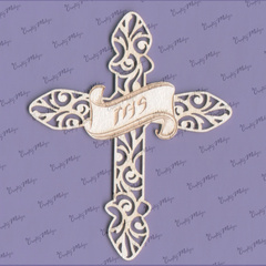 Chipboard - Cross with engraved IHS