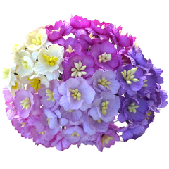 Cherry Blossoms - Mixed purple mulberry paper flowers - 25 mm - 5 flowers