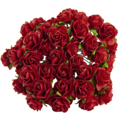Open roses - red mulberry paper flowers - 25 mm - 25 flowers
