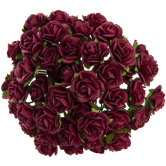 Open roses - deep red mulberry paper flowers - 25 mm - 25 flowers