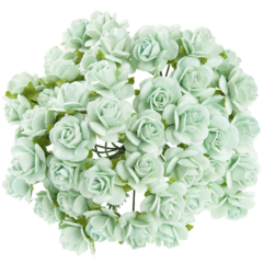 Open roses - aqua mulberry paper roses - 10 mm - 50 flowers