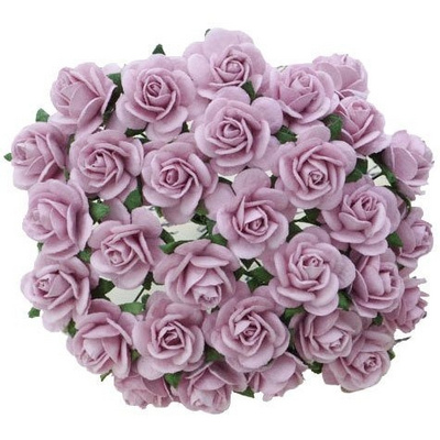 Open roses - lilac mulberry paper roses - 10 mm - 50 flowers