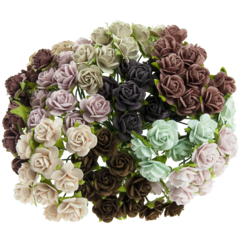 Open roses - vintage mix mulberry paper roses - 10 mm - 50 flowers