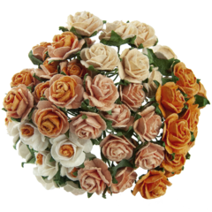 50 MIXED PEACH/ORANGE MULBERRY PAPER OPEN ROSES 10 MM