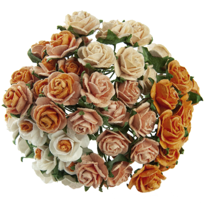 Open roses - mixed peach/orange tone mulberry paper roses - 15 mm - 50 flowers
