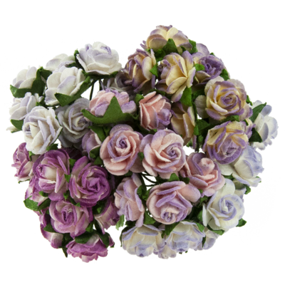 Open roses - mixed 2-tone purple/lilac mulberry paper roses - 10 mm - 50 flowers
