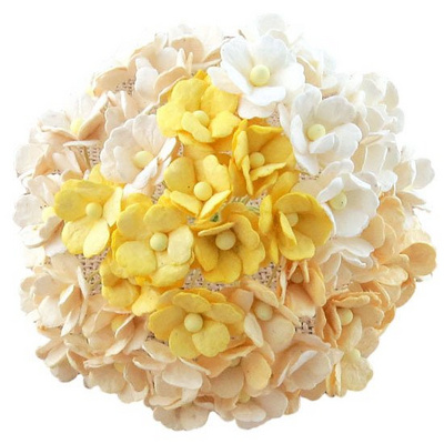 Sweetheart blossom flowers - white/cream mix - 15 mm - 50 flowers