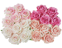 Open roses - mixed pink tone mulberry paper trellis roses - 35 mm - 20 flowers