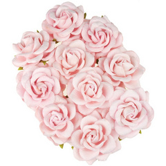 Open chelsea roses - pale pink mulberry paper roses - 45 mm - 10 flowers