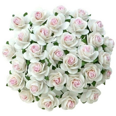 Open roses - 2-tone white with baby pink centre mulberry paper roses - 15 mm - 50 flowers