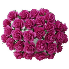 Open roses - deep pink mulberry paper roses - 15 mm - 50 flowers