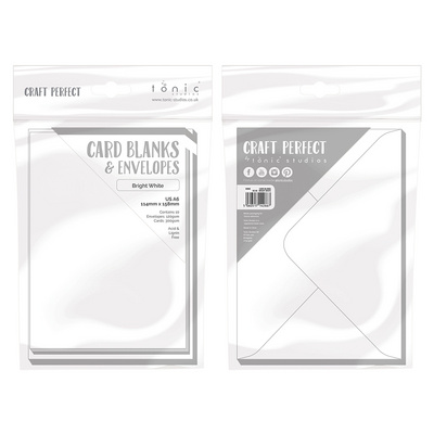 Craft Perfect - 10 Card Blanks & Envelopes - Bright White - A6 - 114 mm x 158 mm