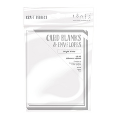 Craft Perfect - 10 Card Blanks & Envelopes - Bright White - A2 - 108mm x 140mm