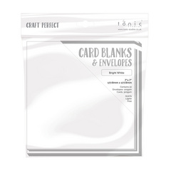 "Craft Perfect - 10 Card Blanks & Envelopes - Bright White - 7"" x 7"" - 177 mm x 177 mm"