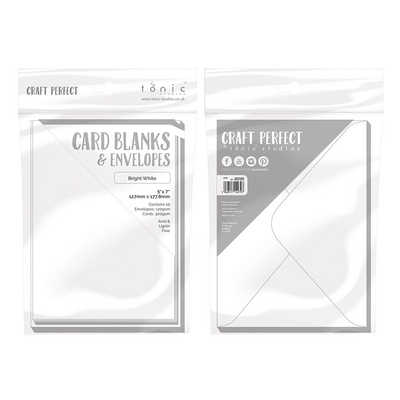 "Craft Perfect - 10 Card Blanks & Envelopes - Bright White - 5"" x 7"" - 12,7 x 17,7 cm"