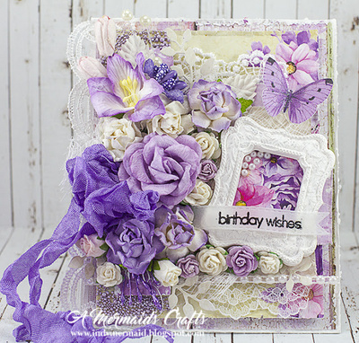 Open roses - 2-tone lilac mulberry paper roses - 10 mm - 50 flowers