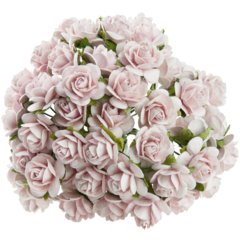 10 PINK MIST MULBERRY PAPER OPEN ROSES 10MM