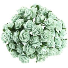 50 PASTEL GREEN MULBERRY PAPER OPEN ROSES 10MM