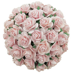 50 PALE PINK MULBERRY PAPER OPEN ROSES 10MM