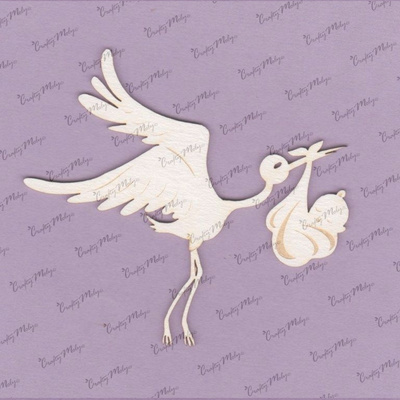 Chipboard - Stork and Baby 2 - 8 cm