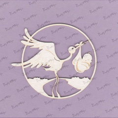 Chipboard - Stork and Baby in Frame 1