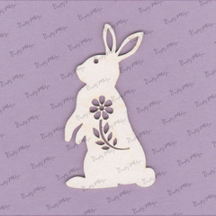 Chipboard - Bunny with Flower - 2 pieces