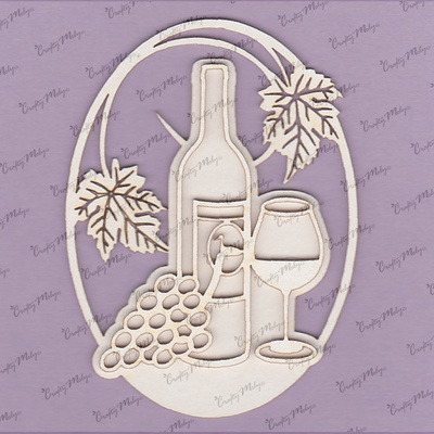 Chipboard - Bottle, Glass and Grapes