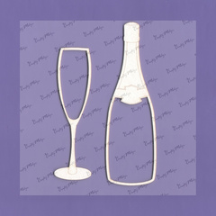 Chipboard - Champagne Bottle and Glass