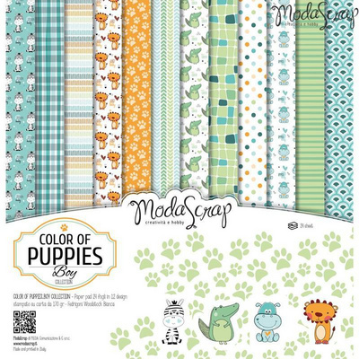 Scrapbooking Blok - Color of puppies boy 30,5 x 30,5 cm