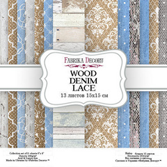 Scrapbooking Blok - Wood Denim Lace 15 x 15 cm