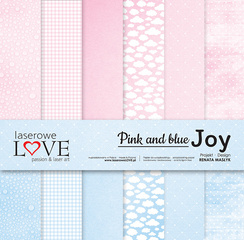 Scrapbooking Blok - Pink and blue JOY 30,5 x 30,5 cm