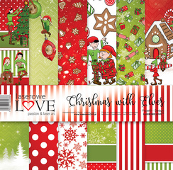 Scrapbooking Blok - Christmas with elves 30,5 x 30,5 cm