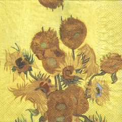 Serviet z vzorcem - Sunflowers of Van Gogh - 33 x 33 cm