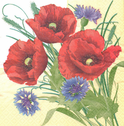 Serviet z vzorcem - Cornflowers and poppies - 33 x 33 cm